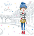 fashion girl in winter clothes in old town vector image vector image