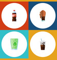 flat icon beverage set of soda cup carbonated vector image vector image