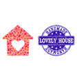 handmade collage of lovely house and textured vector image vector image