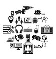 headset icons set simple style vector image vector image
