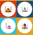 icon flat mosque set of muslim mosque vector image