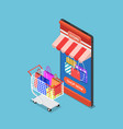 isometric online store on smartphone with cart vector image vector image