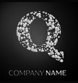 letter q logo silver dots alphabet logotype vector image vector image
