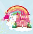 lovely fairy on a unicorn flying on a rainbow vector image
