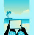 man using tablet computer on tropical beach vector image