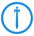 Medieval Sword Rounded Icon Rubber Stamp vector image vector image