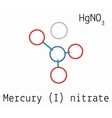 Mercury I nitrate HgNO3 molecule vector image vector image