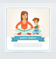 mother reading a book to her smiling son happy vector image vector image