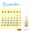 november 2014 kids calendar vector image vector image