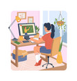 online distance education at home girl at computer vector image vector image