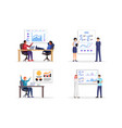 people making business presentation vector image vector image