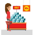 people shopping at the supermarket with special vector image vector image