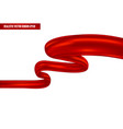 realistic red ribbon in wavy position vector image