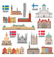 scandinavian set landmark icons vector image vector image