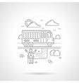 School bus detail line icon vector image