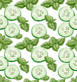 Seamless background from slices of fresh cucumber vector image vector image