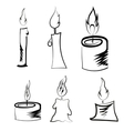 Set of Different Burning Retro Candles vector image vector image