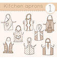 set of kitchen aprons 1 vector image vector image