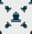 Ship icon sign Seamless pattern with geometric