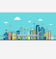 smart city with business signs vector image vector image