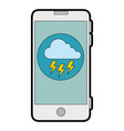 smartphone with storm cloud weather application vector image