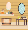 spa salon with accessories for relaxation vector image vector image