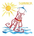 Summer big Sale letteringRed Dreswatercolor sun vector image vector image