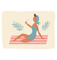 summer poster with pin up girl on beach vector image
