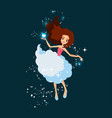 tooth fairy holding lost tooth in hand in front vector image vector image