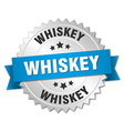 whiskey 3d silver badge with blue ribbon vector image vector image