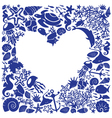 White background heart is surrounded of marine li vector image vector image