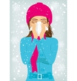 woman suffering influenza and runny nose vector image
