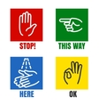 Hands signs icons vector image