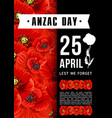 anzac day australian memory red poppy card vector image vector image
