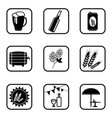 beer icons on white background vector image vector image