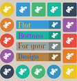 bell icon sign Set of twenty colored flat round vector image vector image