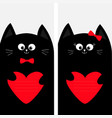black cat kitty family holding red heart shape vector image vector image
