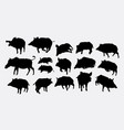 boar action silhouette vector image vector image