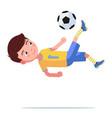 boy soccer player kicks ball in a flip jump vector image vector image