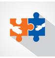 Businessman handshake with puzzle pieces vector image vector image