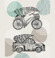 car and bicycle with a christmas tree spruce vector image vector image