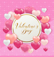 card with pink and white hearts vector image
