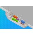 Cargo vessel isometric view flat