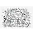Cartoon hand drawn doodles on a school vector image vector image