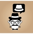 cartoon hipster hat vintage background vector image