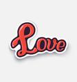 cartoon sticker with word love vector image