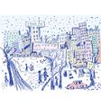 City street in winter vector image vector image