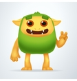 Cute Cartoon Green beast with victory gesture Fun vector image vector image