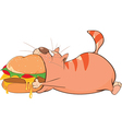 Cute Cat and Big Hamburger vector image