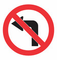 do not turn left traffic sign vector image vector image